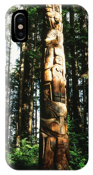 Wood Carving iPhone Case - Usa, Alaska, Suka, Totem Pole by Howie Garber
