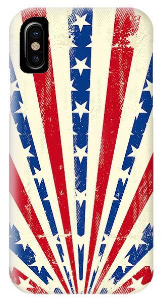 July 4 iPhone Case - Usa Brushed Sunbeams. A Vintage by Christophe Boisson