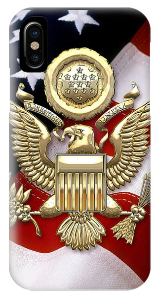 U. S. A. Great Seal In Gold Over American Flag  IPhone Case