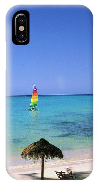 Catamaran iPhone Case - Usa, Hawaii Catamaran And Beach Scene by Sunstar