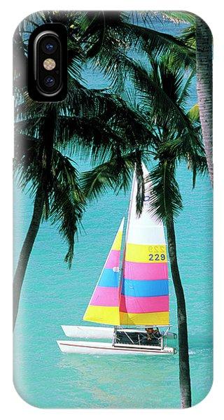 Catamaran iPhone Case - Usa, Hawaii Catamaran And Palm Trees by Sunstar
