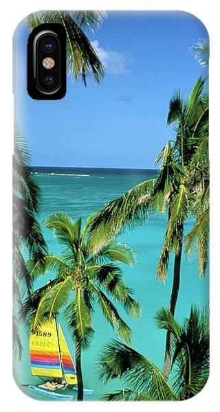 Catamaran iPhone Case - Usa, Hawaii Catamaran And Palms by Sunstar