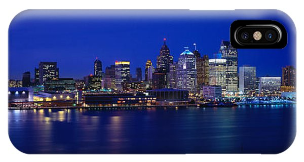 Renaissance Center iPhone Case - Usa, Michigan, Detroit, Night by Panoramic Images