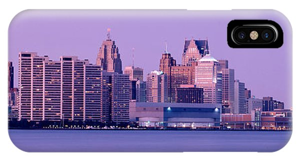 Renaissance Center iPhone Case - Usa, Michigan, Detroit, Twilight by Panoramic Images