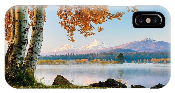Treeline iPhone Case - Usa, Oregon, Bend, Fall At Black Butte by Hollice Looney