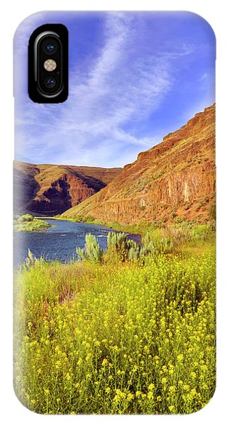 Basalt iPhone Case - Usa, Oregon Cliffs And Wild Mustard by Jaynes Gallery