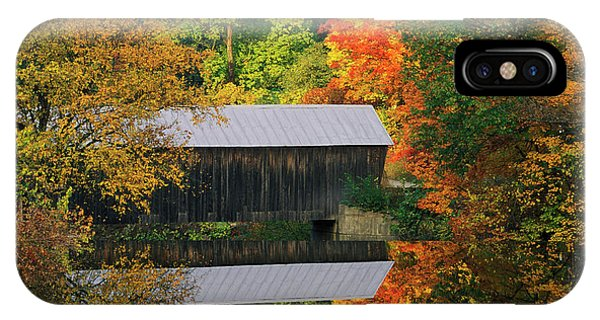 Covered Bridge iPhone Case - Usa, Vermont Covered Bridge And Autumn by Jaynes Gallery