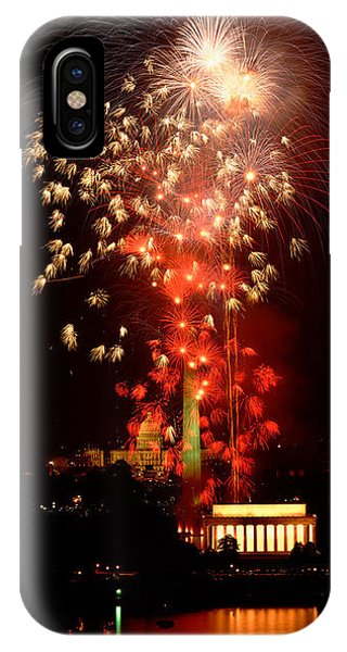 Lincoln Memorial iPhone Case - Usa, Washington Dc, Fireworks by Panoramic Images