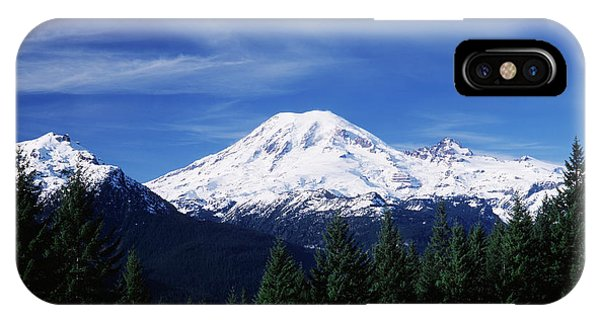 Cold Day iPhone Case - Usa, Washington State, View Of Mount by Paul Souders