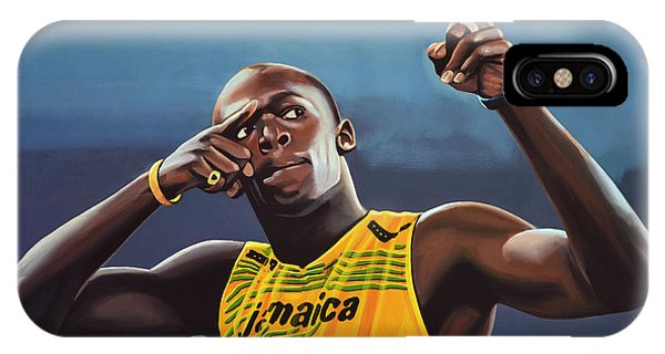 Colorful iPhone Case - Usain Bolt Painting by Paul Meijering