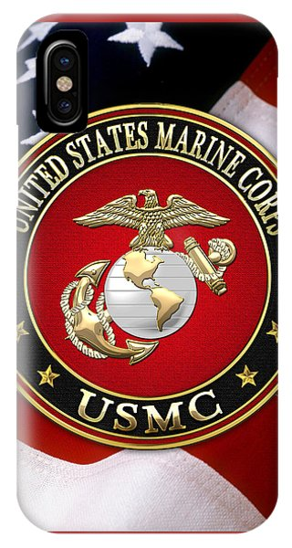 U S M C Eagle Globe And Anchor - E G A Over American Flag. IPhone Case