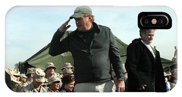 Robin Williams Comedian iPhone Case - Uso Tour Iraq Robin Williams And Blake Clark by Annette Redman