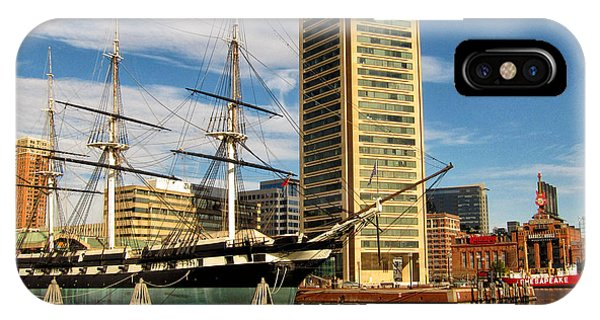 U.s.s. Constellation In Baltimore's Inner Harbor IPhone Case