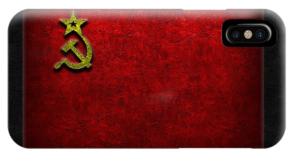 IPhone Case featuring the digital art Ussr Flag Stone Texture by The Learning Curve Photography