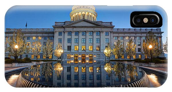 Utah State Capitol In Reflecting Fountain At Dusk IPhone Case