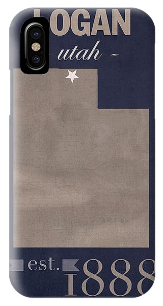 Aggie iPhone Case - Utah State University Aggies Logan College Town State Map Poster Series No 117 by Design Turnpike