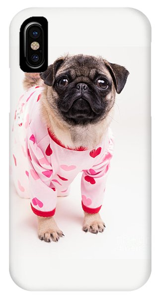 Pug iPhone X Case - Valentine's Day - Adorable Pug Puppy In Pajamas by Edward Fielding