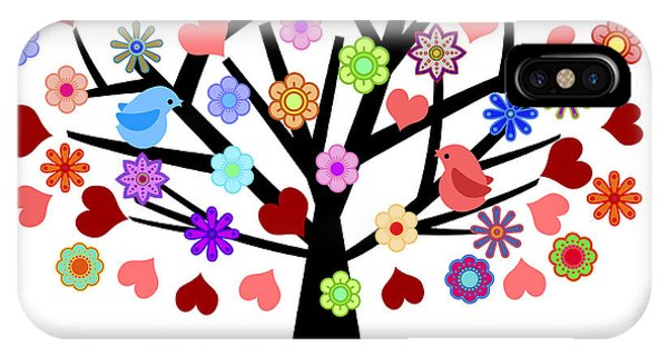 Valentines Day Tree With Love Birds Hearts Flowers IPhone Case