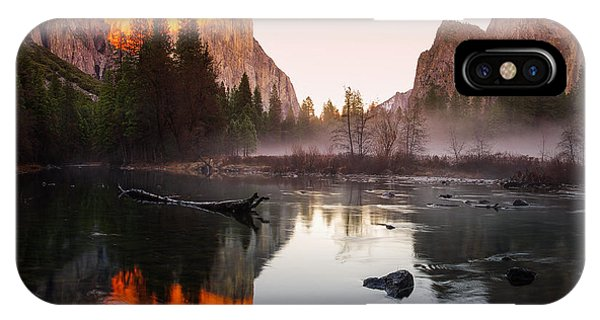 Cathedral Rock iPhone Case - Valley View Winter Sunset Yosemite National Park by Scott McGuire