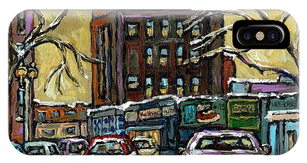 Van Horne Corner Ave Du Parc On The Road Again Montreal Cars In January City Life Paintings Cspandau IPhone Case