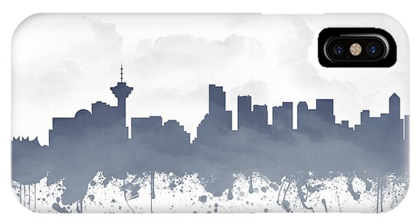 Vancouver City iPhone Case - Vancouver British Columbia Skyline - Blue 03 by Aged Pixel