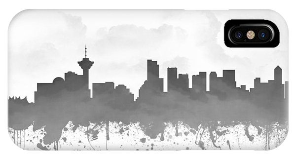 Vancouver City iPhone Case - Vancouver British Columbia Skyline - Gray 03 by Aged Pixel