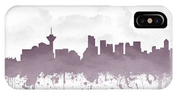 Vancouver City iPhone Case - Vancouver British Columbia Skyline - Purple 03 by Aged Pixel