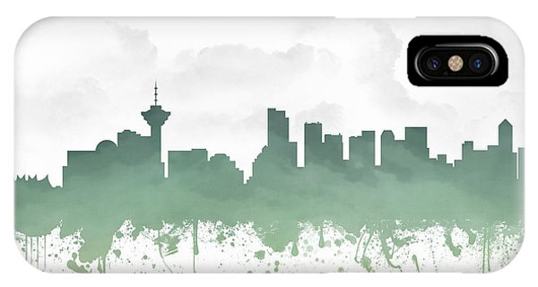 Vancouver City iPhone Case - Vancouver British Columbia Skyline - Teal 03 by Aged Pixel