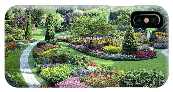 Vancouver Butchart Sunken Gardens Beautiful Flowers No People Panorama IPhone Case