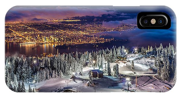 Vancouver City Panorama From Grouse Mountain  IPhone Case