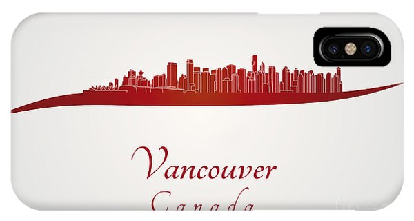 Vancouver City iPhone Case - Vancouver Skyline In Red by Pablo Romero