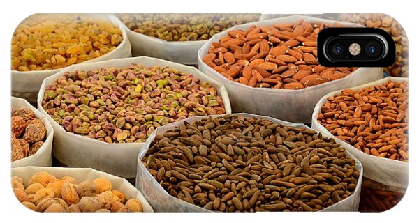 Variety Of Raw Nuts For Sale At Outdoor Street Market Karachi Pakistan IPhone Case