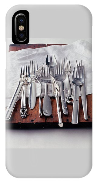 Various Forks On A Wooden Board IPhone Case