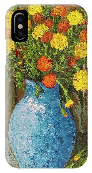 Vase Of Marigolds IPhone Case