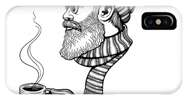Santa Claus iPhone Case - Vector Black And White Bearded Man With by Julia Waller