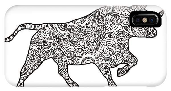 Bull Art iPhone Case - Vector Boho Bull For  Coloring Book For by Shelest Yuliia