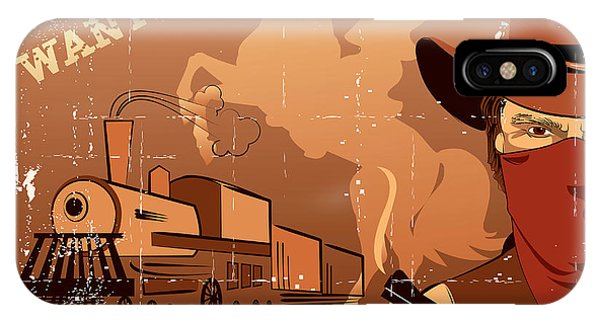 Horizontal iPhone Case - Vector Cowboy And Train. Western Grunge by Tancha