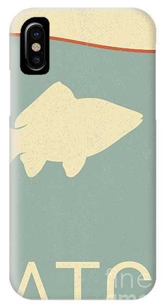 Danger iPhone Case - Vector Fish And Fish Hook - Retro by Norph