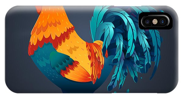 Celebration iPhone Case - Vector Illustration Bright Rooster On A by Fay Francevna