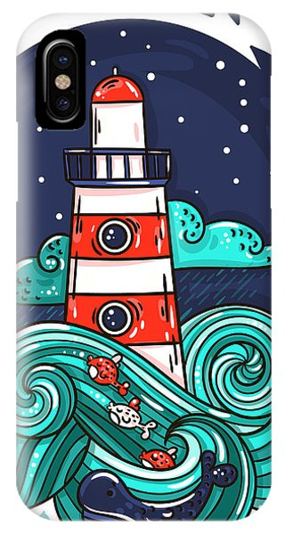 Beams iPhone Case - Vector Illustration Lighthouse In Storm by Evasabrekova