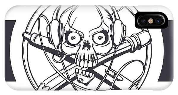 Vector Illustration Of A Black Skull Phone Case by Frostyara