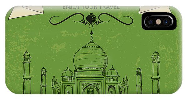 Palace iPhone X Case - Vector Illustration Of Taj Mahal Of by Stockshoppe