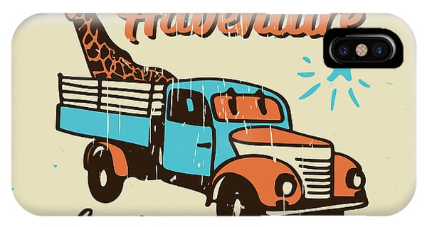 Truck iPhone X Case - Vector Poster The Adventure Begins by Ksenia Martianova