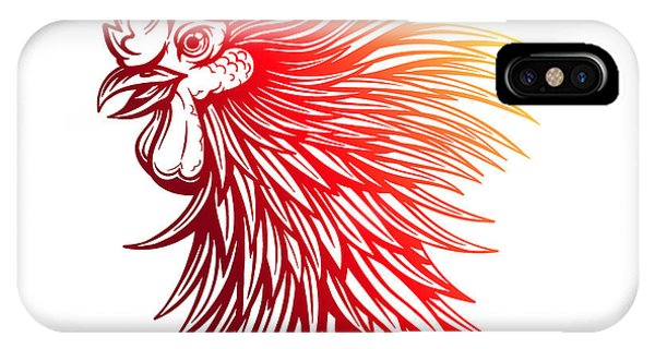 Fowl iPhone Case - Vector Red Rooster Head Illustration by Julia Waller