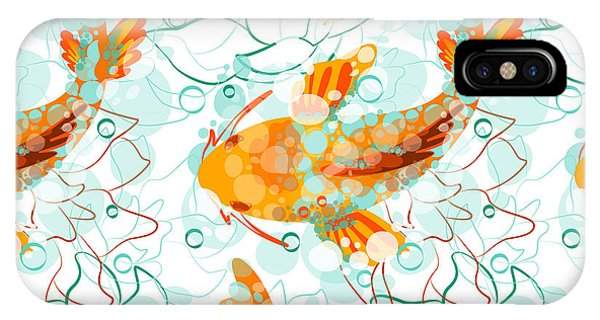 Ripples iPhone Case - Vector Seamless Pattern With Koi Fish by Derenskaya