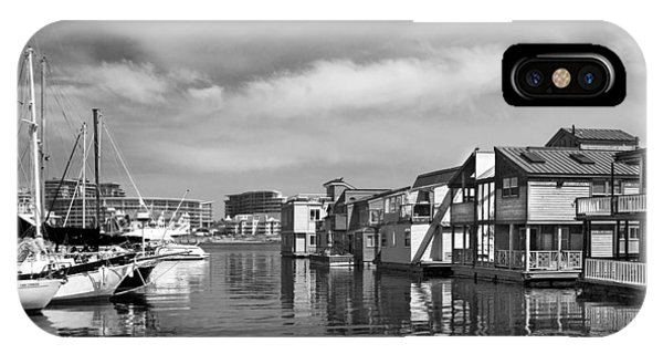 Veiw Of Marina In Victoria British Columbia Black And White IPhone Case
