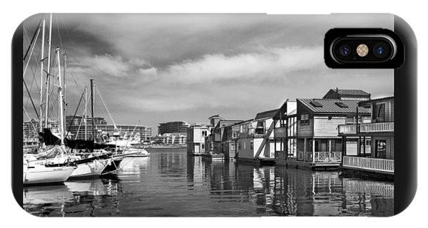 Veiw Of Marina In Victoria British Columbia Black And White IPhone Case