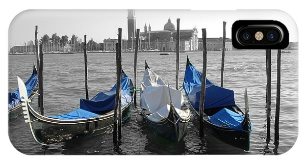 Venice Italy Boats In Black And Blue IPhone Case