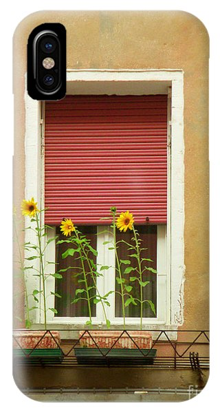 Venice Italy Yellow Flowers Red Shutter IPhone Case