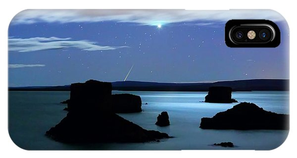 Drown iPhone Case - Venus And Meteor Over Reservoir by Luis Argerich